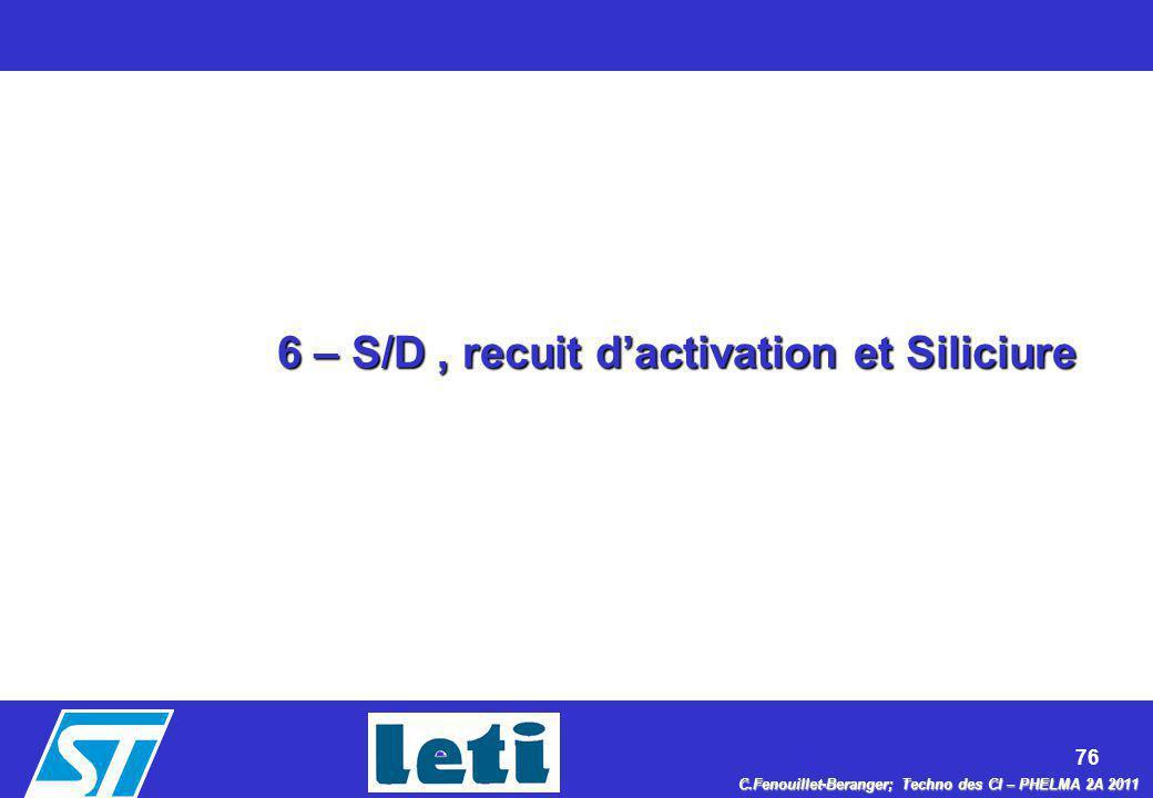 76 C.Fenouillet-Beranger; Techno des CI – PHELMA 2A 2011 6 – S/D, recuit dactivation et Siliciure