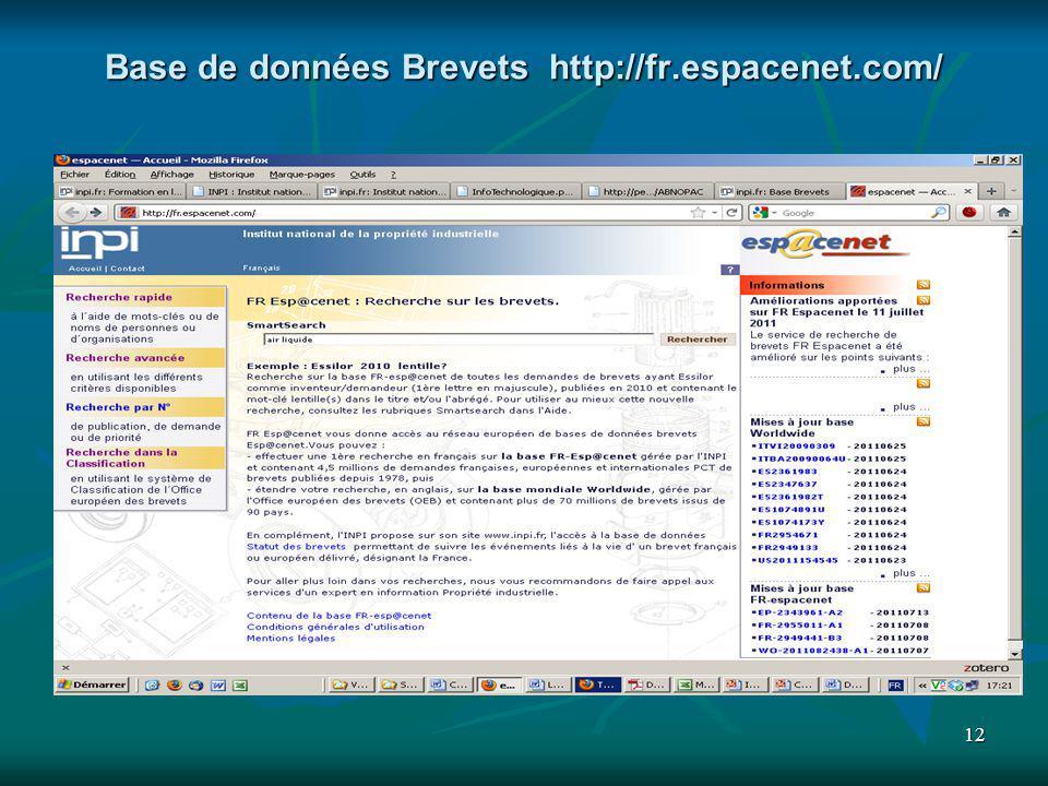12 Base de données Brevets http://fr.espacenet.com/