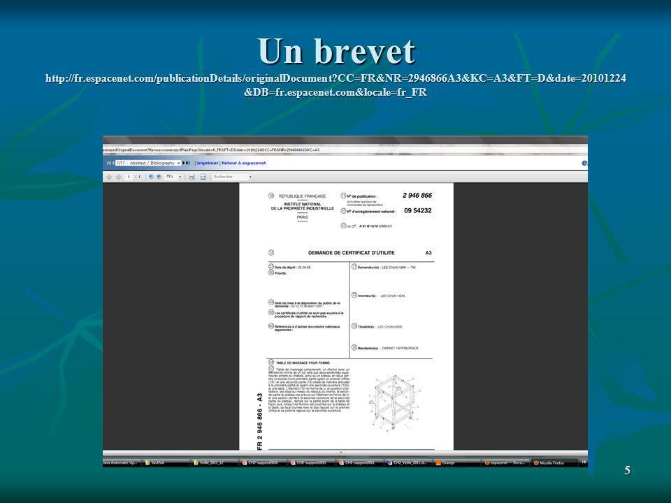 6 Lire un brevet : 4 parties http://campus.inpi.net/InfoTechnologique/Ressources/InfoTechnologique.pdf 1.