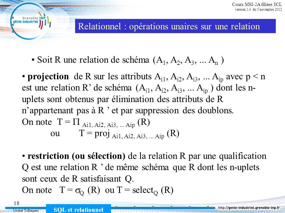 Michel Tollenaere SQL et relationnel 18 Cours MSI-2A filière ICL version 1.4 du 5 novembre 2012 Relationnel : opérations unaires sur une relation proj