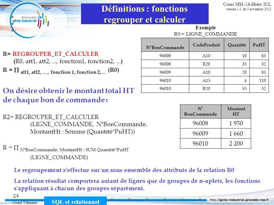 Michel Tollenaere SQL et relationnel 24 Cours MSI-2A filière ICL version 1.4 du 5 novembre 2012 Définitions : fonctions regrouper et calculer R= REGRO