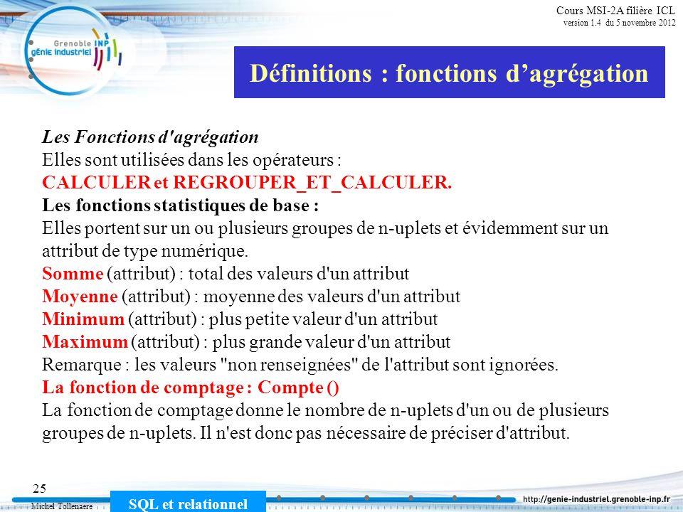 Michel Tollenaere SQL et relationnel 25 Cours MSI-2A filière ICL version 1.4 du 5 novembre 2012 Définitions : fonctions dagrégation Les Fonctions d'ag