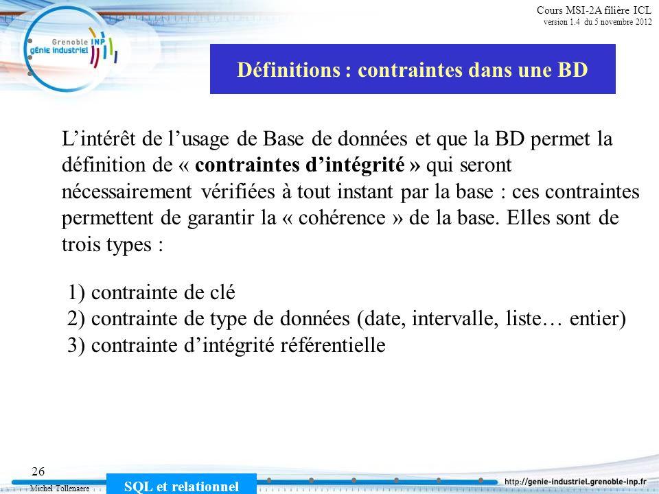 Michel Tollenaere SQL et relationnel 26 Cours MSI-2A filière ICL version 1.4 du 5 novembre 2012 Définitions : contraintes dans une BD Lintérêt de lusa