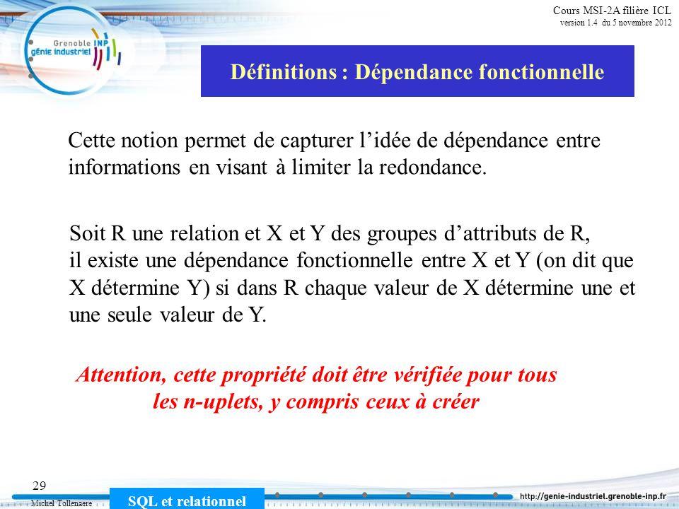 Michel Tollenaere SQL et relationnel 29 Cours MSI-2A filière ICL version 1.4 du 5 novembre 2012 Définitions : Dépendance fonctionnelle Cette notion pe