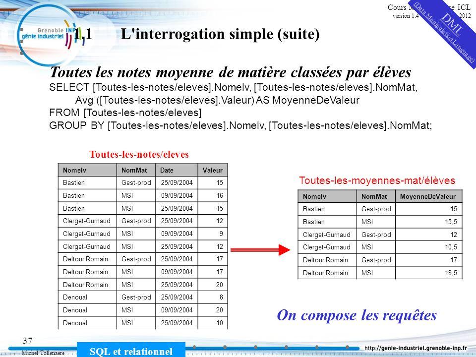 Michel Tollenaere SQL et relationnel 37 Cours MSI-2A filière ICL version 1.4 du 5 novembre 2012 1.1L'interrogation simple (suite) Toutes les notes moy