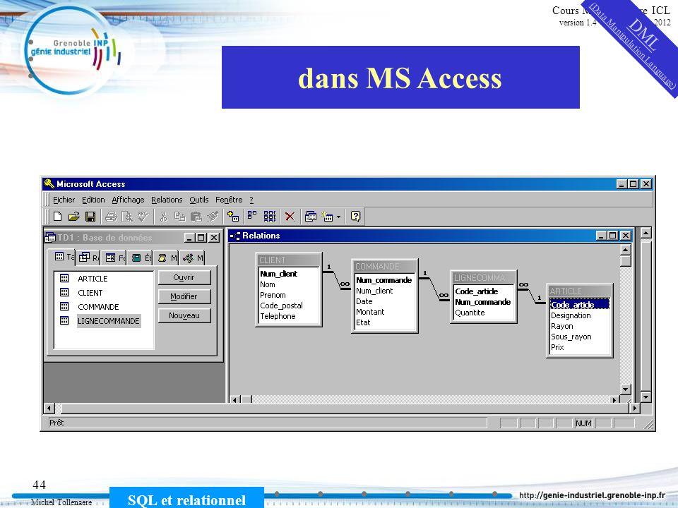 Michel Tollenaere SQL et relationnel 44 Cours MSI-2A filière ICL version 1.4 du 5 novembre 2012 dans MS Access DML (Data Manipulation Language)