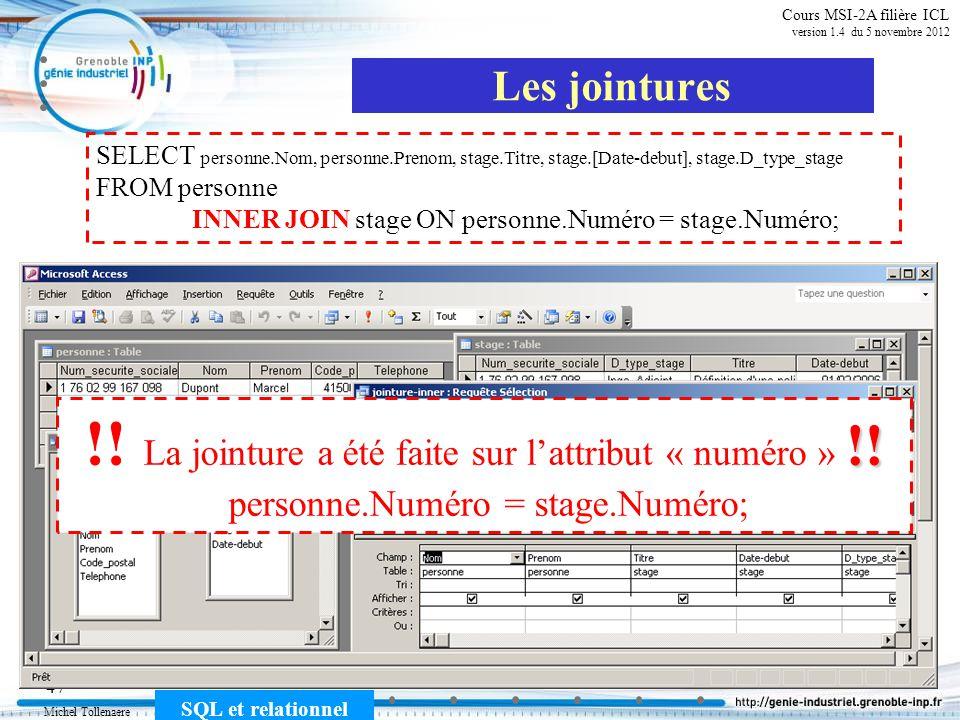 Michel Tollenaere SQL et relationnel 47 Cours MSI-2A filière ICL version 1.4 du 5 novembre 2012 SELECT personne.Nom, personne.Prenom, stage.Titre, sta