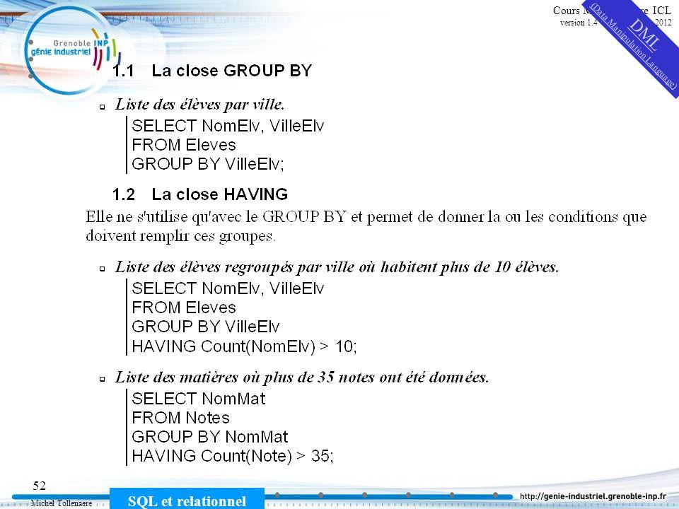 Michel Tollenaere SQL et relationnel 52 Cours MSI-2A filière ICL version 1.4 du 5 novembre 2012 DML (Data Manipulation Language)