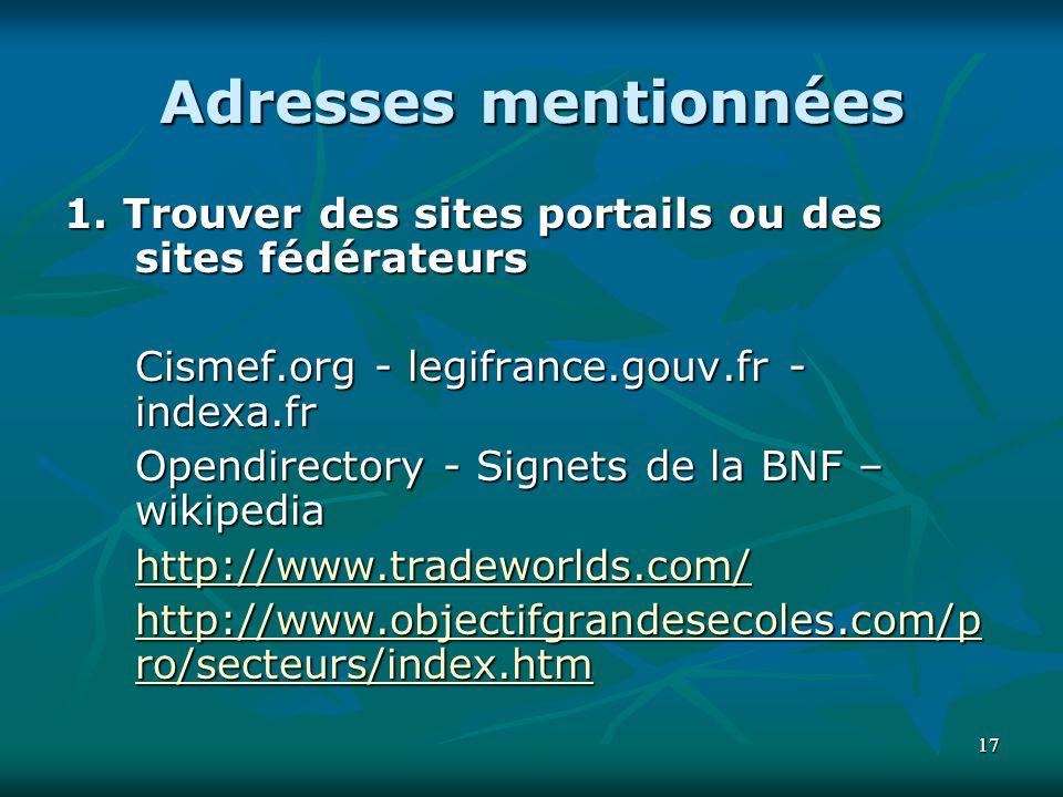 1717 Adresses mentionnées 1. Trouver des sites portails ou des sites fédérateurs Cismef.org - legifrance.gouv.fr - indexa.fr Opendirectory - Signets d