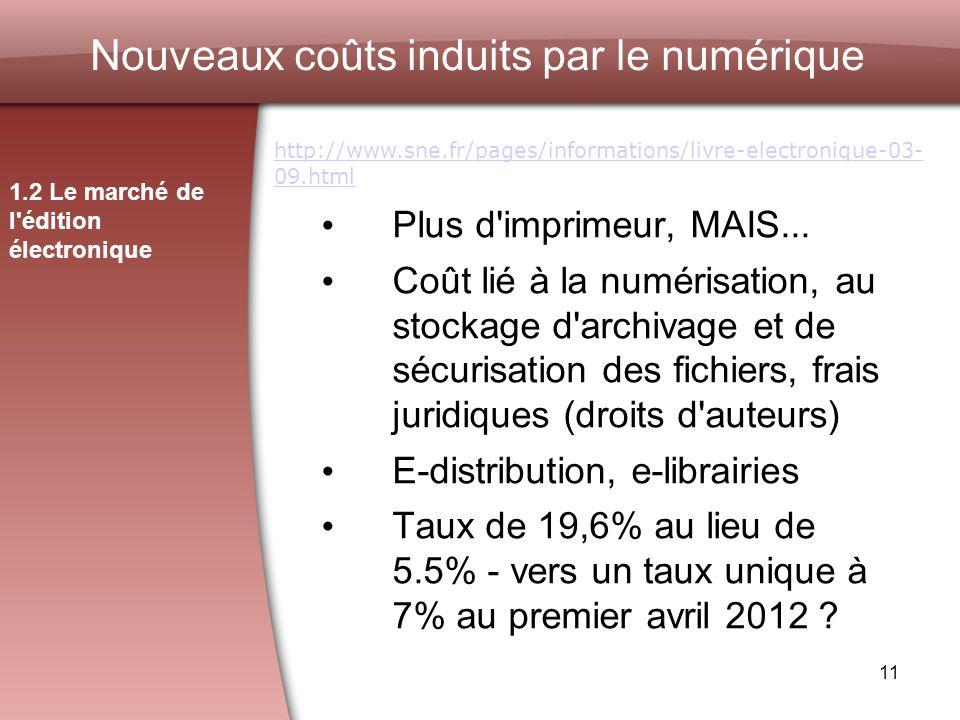 11 Nouveaux coûts induits par le numérique 1.2 Le marché de l édition électronique http://www.sne.fr/pages/informations/livre-electronique-03- 09.html Plus d imprimeur, MAIS...