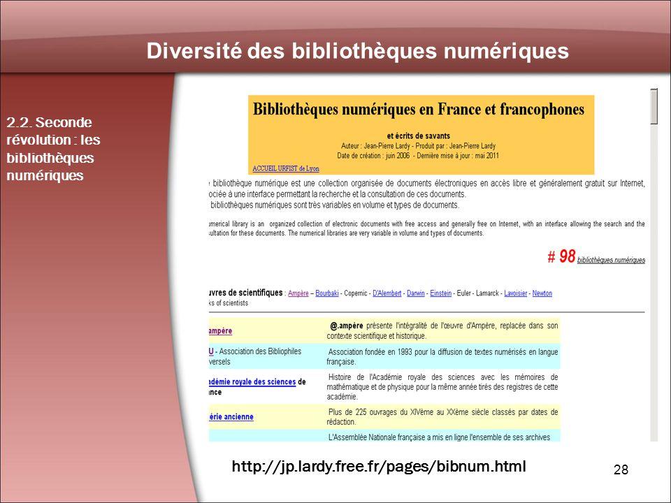 28 Diversité des bibliothèques numériques 2.2.