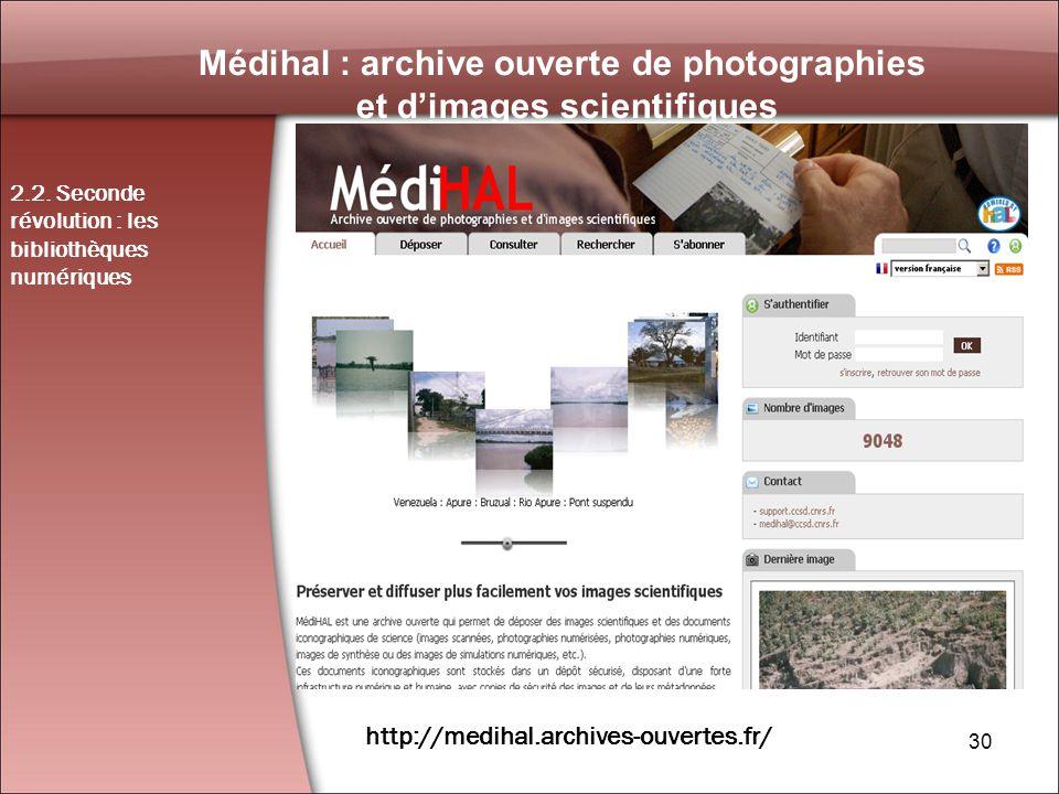30 Médihal : archive ouverte de photographies et dimages scientifiques 2.2.