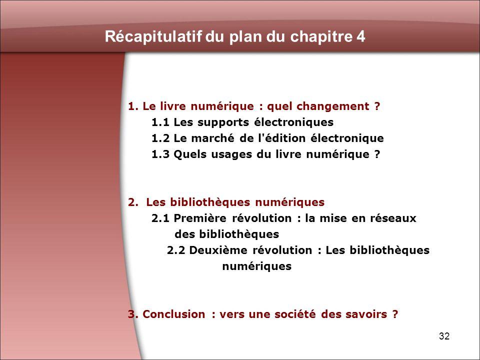 32 Récapitulatif du plan du chapitre 4 1. Le livre numérique : quel changement .