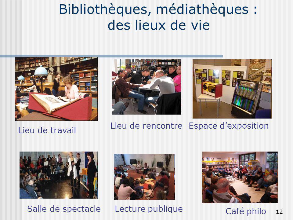 Bibliothèques, médiathèques : des lieux de vie Espace dexposition Lieu de travail Salle de spectacleLecture publique Café philo Lieu de rencontre 12