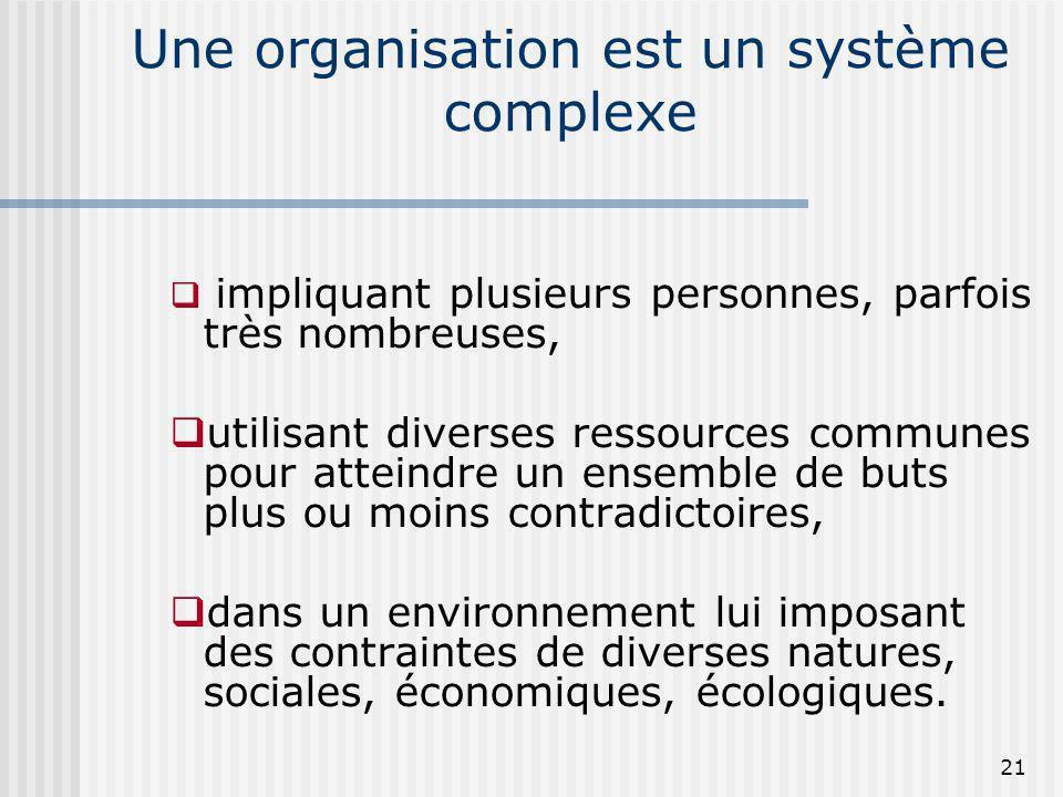Une organisation est un système complexe impliquant plusieurs personnes, parfois très nombreuses, utilisant diverses ressources communes pour atteindr