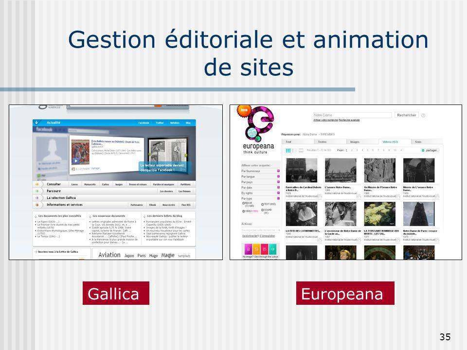 Gestion éditoriale et animation de sites 35 GallicaEuropeana