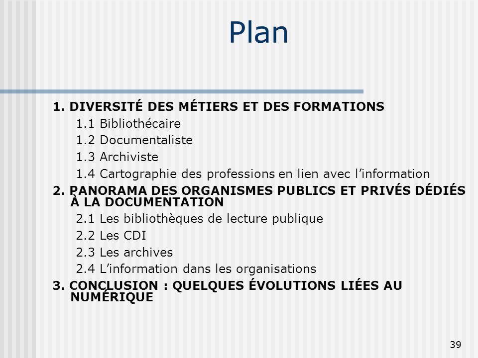 Plan 1. DIVERSITÉ DES MÉTIERS ET DES FORMATIONS 1.1 Bibliothécaire 1.2 Documentaliste 1.3 Archiviste 1.4 Cartographie des professions en lien avec lin