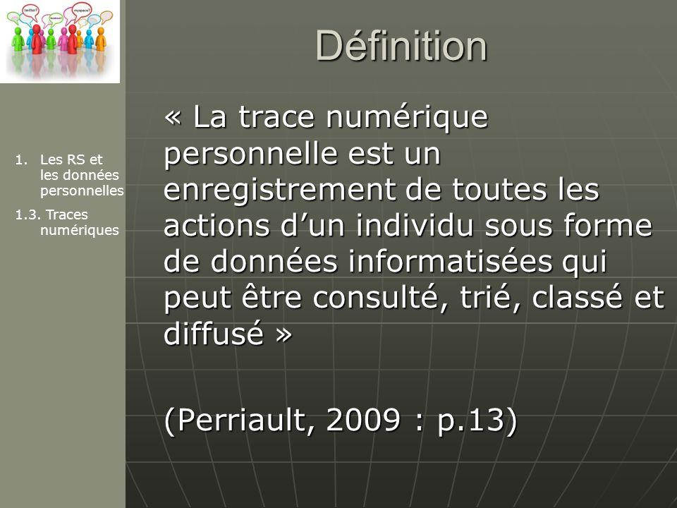 Définition « La trace numérique personnelle est un enregistrement de toutes les actions dun individu sous forme de données informatisées qui peut être consulté, trié, classé et diffusé » (Perriault, 2009 : p.13) 1.Les RS et les données personnelles 1.3.