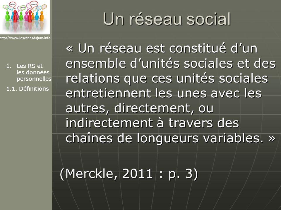 Un réseau social « Un réseau est constitué dun ensemble dunités sociales et des relations que ces unités sociales entretiennent les unes avec les autres, directement, ou indirectement à travers des chaînes de longueurs variables.