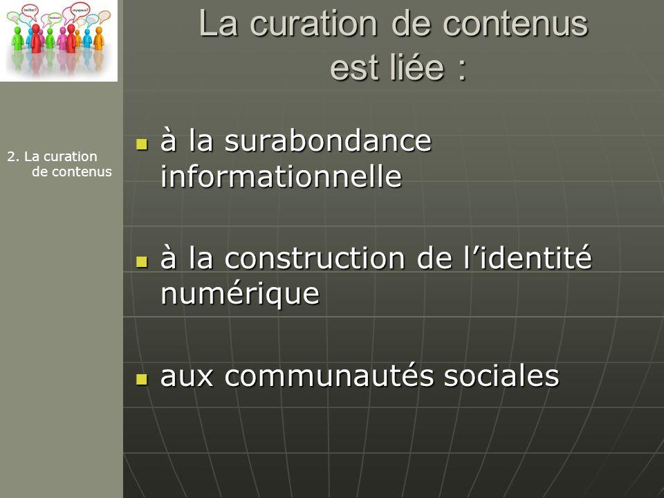 La curation de contenus est liée : à la surabondance informationnelle à la surabondance informationnelle à la construction de lidentité numérique à la construction de lidentité numérique aux communautés sociales aux communautés sociales 2.