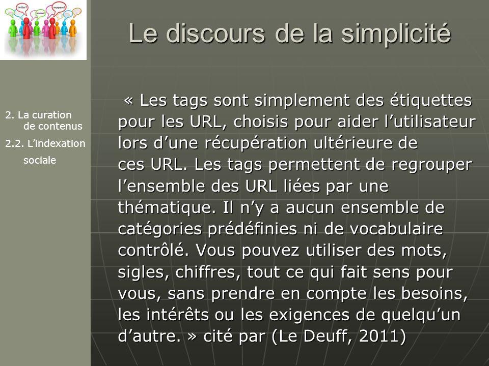 Le discours de la simplicité « Les tags sont simplement des étiquettes pour les URL, choisis pour aider lutilisateur lors dune récupération ultérieure de ces URL.