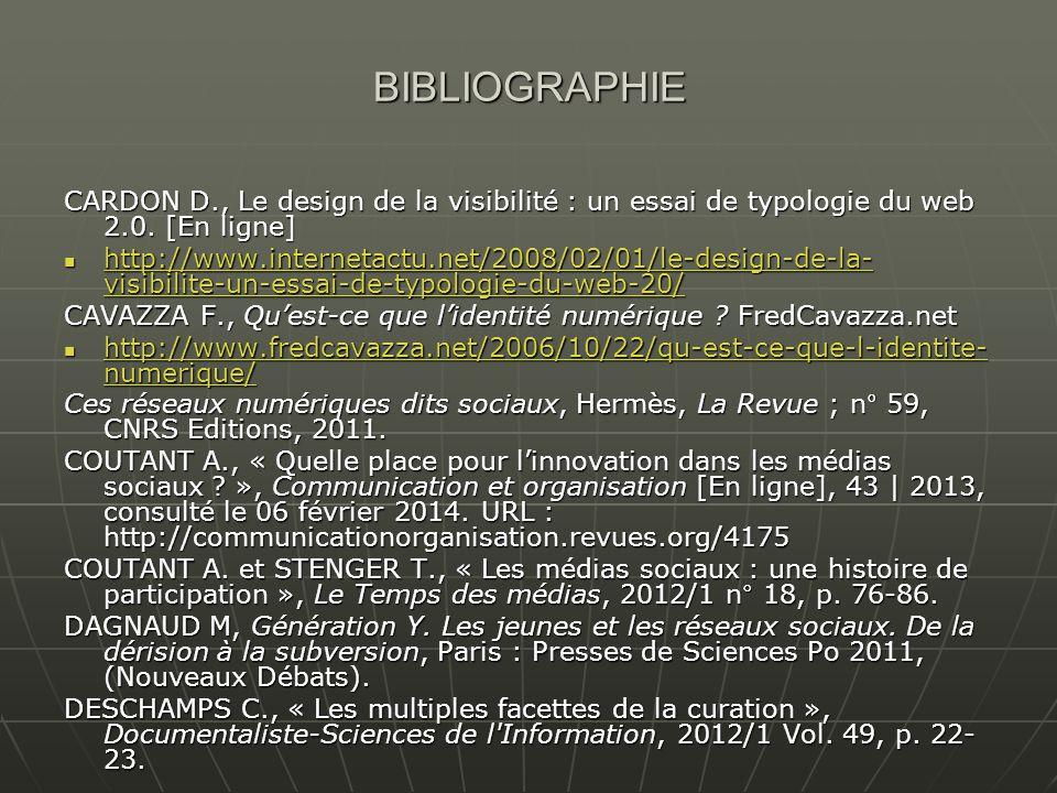 BIBLIOGRAPHIE CARDON D., Le design de la visibilité : un essai de typologie du web 2.0.