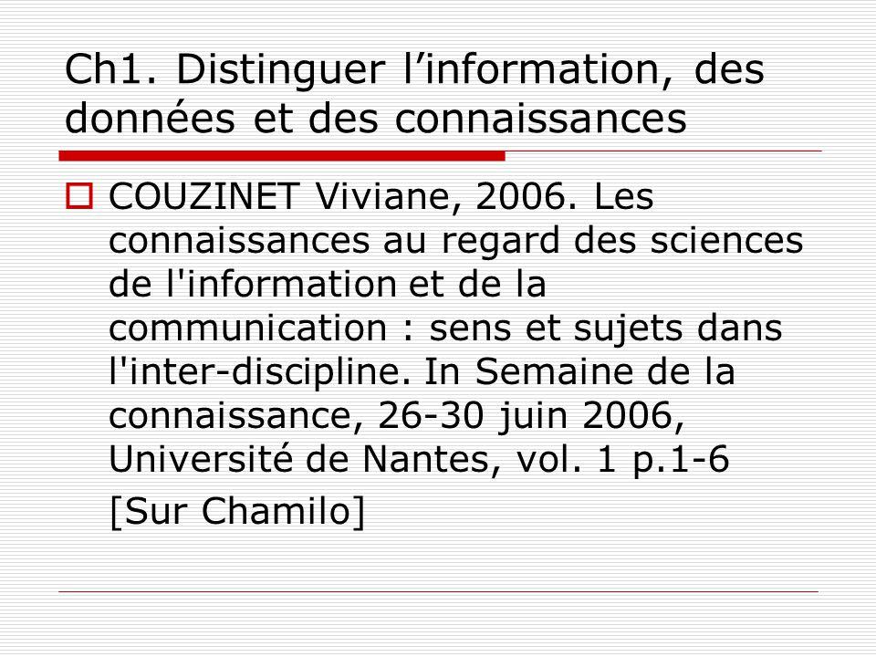 Ch1. Distinguer linformation, des données et des connaissances COUZINET Viviane, 2006.