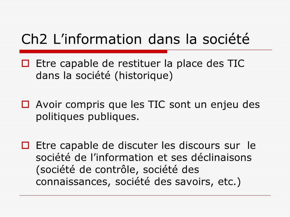 Ch2 Linformation dans la société Etre capable de restituer la place des TIC dans la société (historique) Avoir compris que les TIC sont un enjeu des politiques publiques.