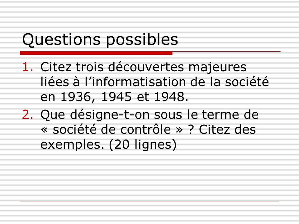 Questions possibles 1.Citez trois découvertes majeures liées à linformatisation de la société en 1936, 1945 et 1948.
