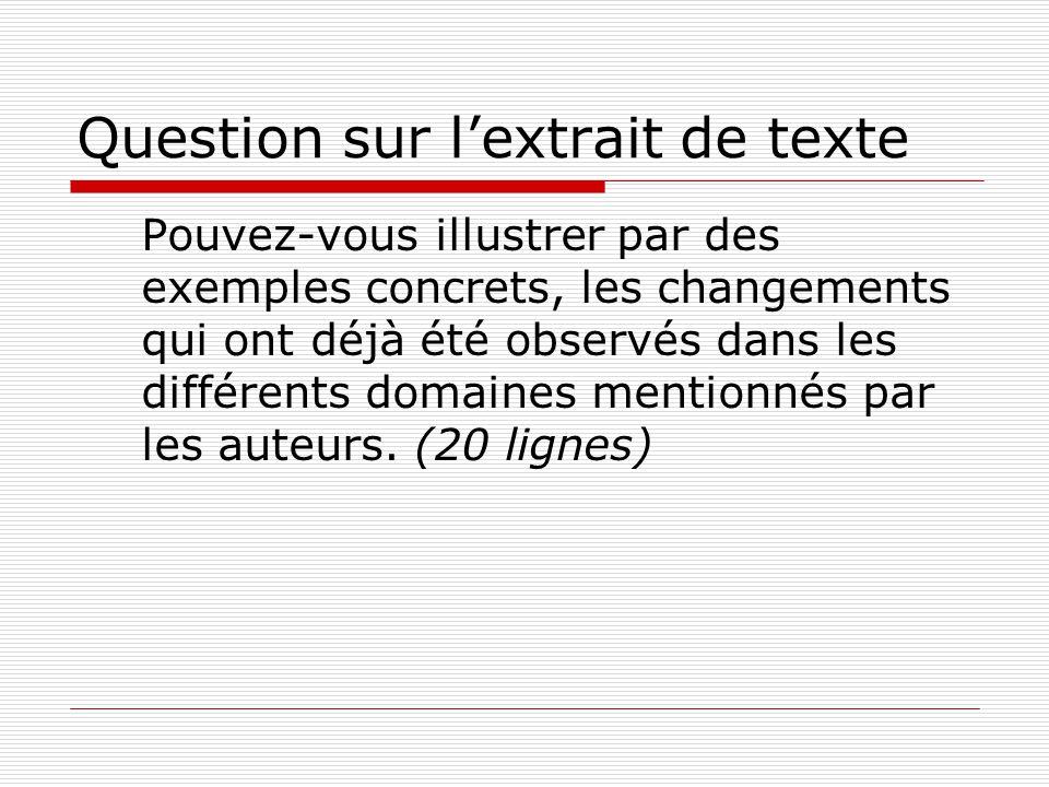 Question sur lextrait de texte Pouvez-vous illustrer par des exemples concrets, les changements qui ont déjà été observés dans les différents domaines mentionnés par les auteurs.