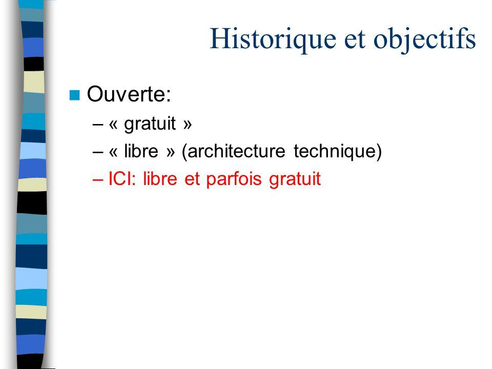 Historique et objectifs Ouverte: –« gratuit » –« libre » (architecture technique) –ICI: libre et parfois gratuit