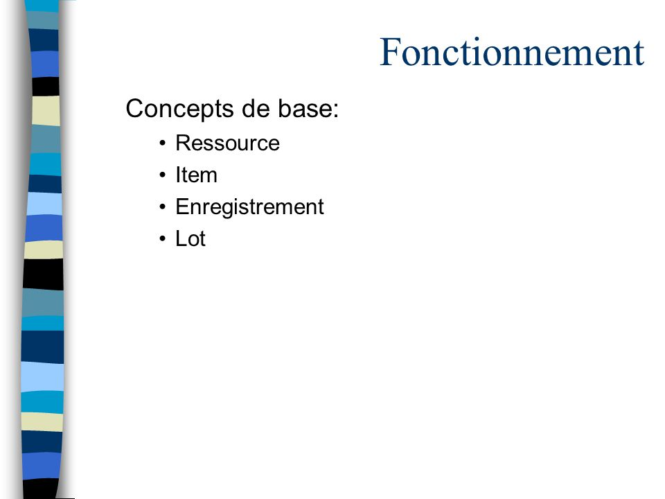 Fonctionnement Concepts de base: Ressource Item Enregistrement Lot