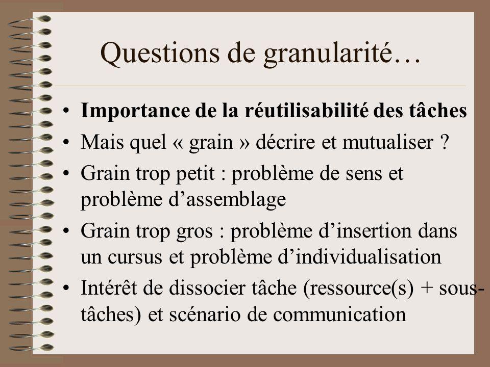 Questions de granularité… Importance de la réutilisabilité des tâches Mais quel « grain » décrire et mutualiser .