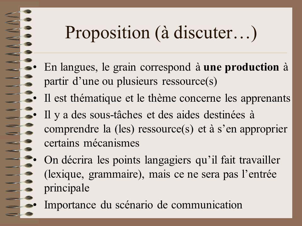 Proposition (à discuter…) En langues, le grain correspond à une production à partir dune ou plusieurs ressource(s) Il est thématique et le thème concerne les apprenants Il y a des sous-tâches et des aides destinées à comprendre la (les) ressource(s) et à sen approprier certains mécanismes On décrira les points langagiers quil fait travailler (lexique, grammaire), mais ce ne sera pas lentrée principale Importance du scénario de communication
