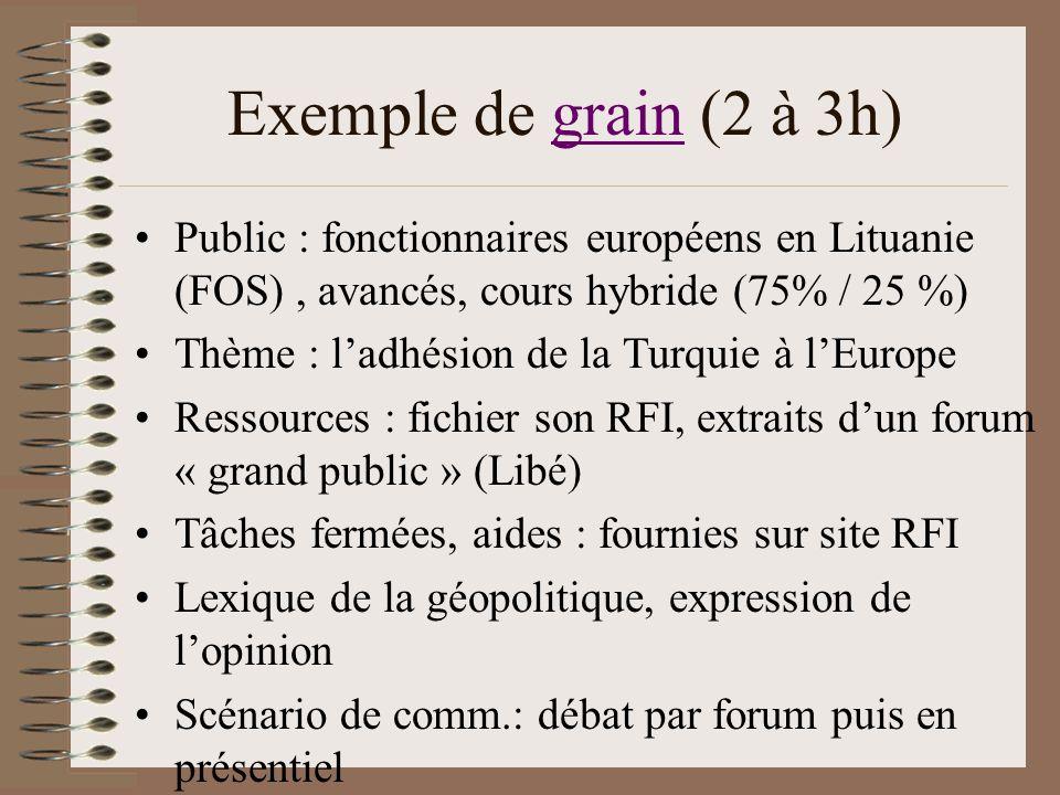 Exemple de grain (2 à 3h)grain Public : fonctionnaires européens en Lituanie (FOS), avancés, cours hybride (75% / 25 %) Thème : ladhésion de la Turqui