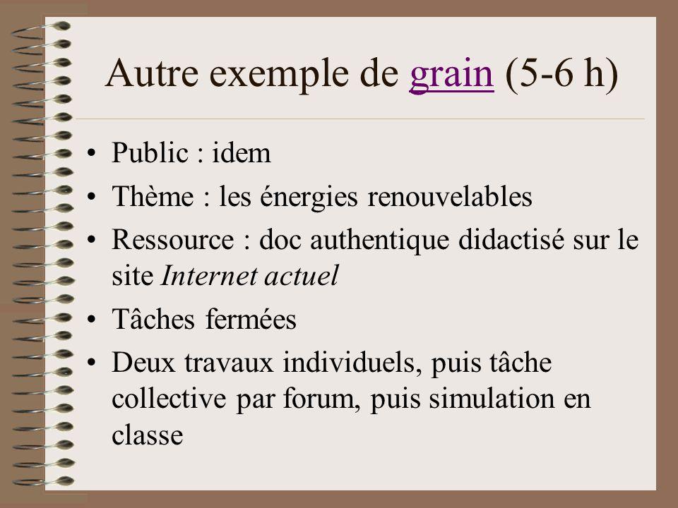 Autre exemple de grain (5-6 h)grain Public : idem Thème : les énergies renouvelables Ressource : doc authentique didactisé sur le site Internet actuel