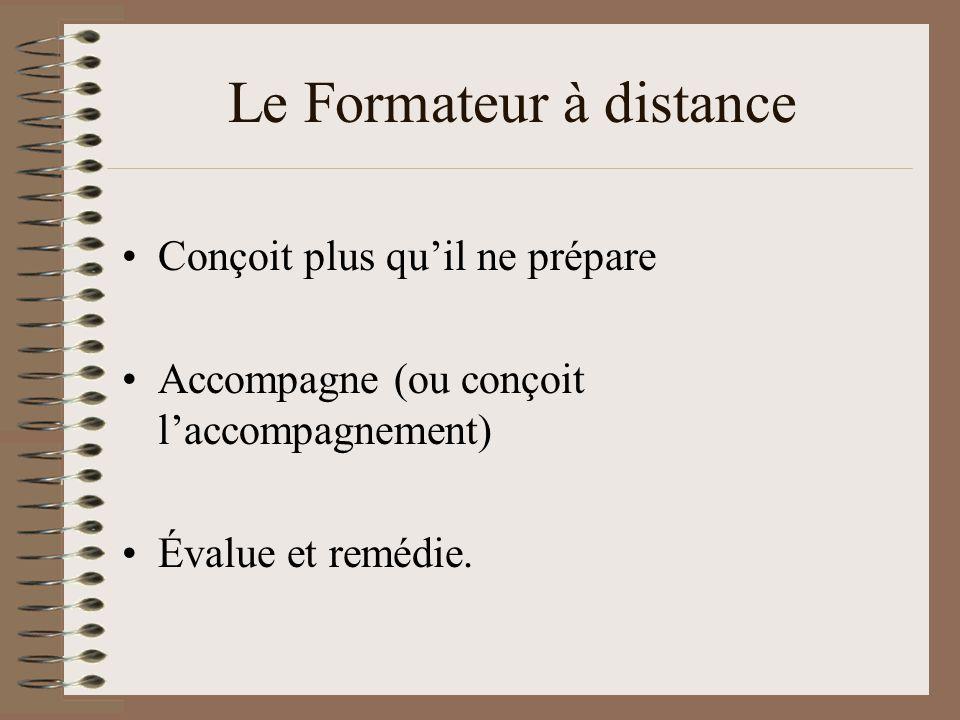 Le Formateur à distance Conçoit plus quil ne prépare Accompagne (ou conçoit laccompagnement) Évalue et remédie.
