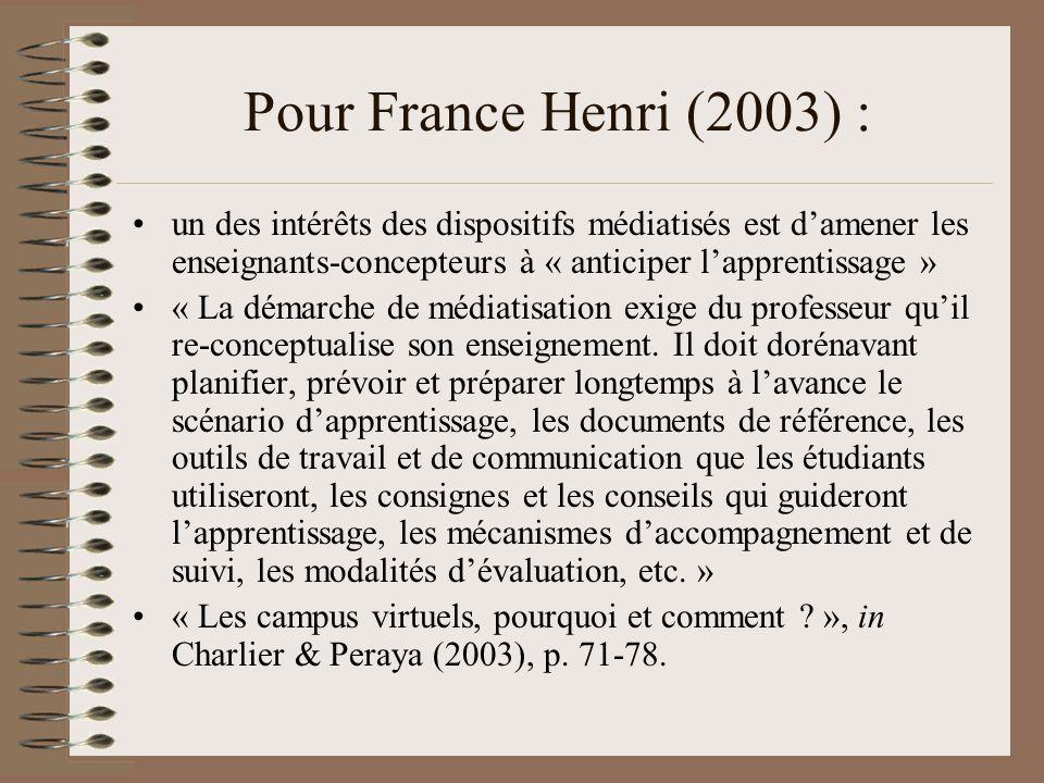Pour France Henri (2003) : un des intérêts des dispositifs médiatisés est damener les enseignants-concepteurs à « anticiper lapprentissage » « La démarche de médiatisation exige du professeur quil re-conceptualise son enseignement.