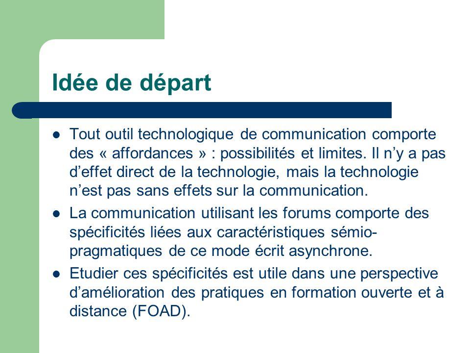 Idée de départ Tout outil technologique de communication comporte des « affordances » : possibilités et limites.
