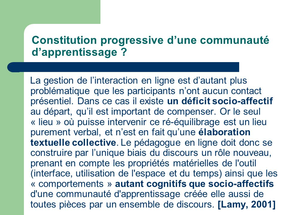 Constitution progressive dune communauté dapprentissage .