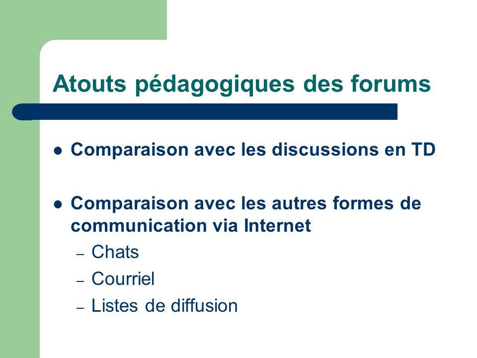Atouts pédagogiques des forums Comparaison avec les discussions en TD Comparaison avec les autres formes de communication via Internet – Chats – Courriel – Listes de diffusion