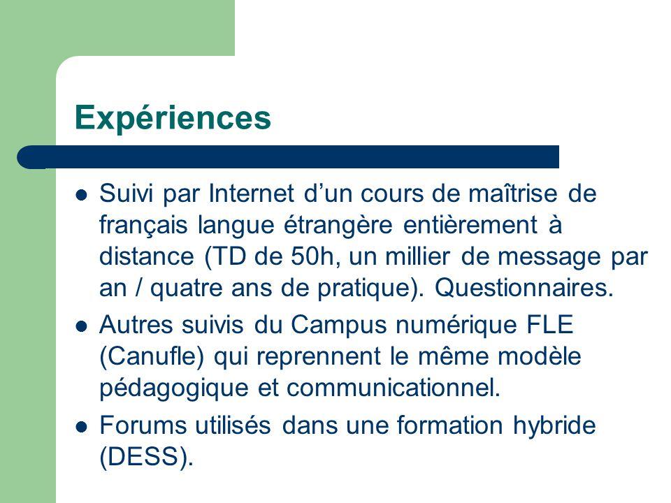 Expériences Suivi par Internet dun cours de maîtrise de français langue étrangère entièrement à distance (TD de 50h, un millier de message par an / quatre ans de pratique).