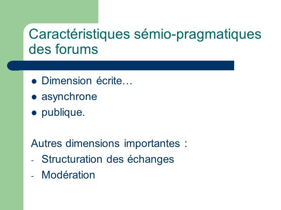Caractéristiques sémio-pragmatiques des forums Dimension écrite… asynchrone publique.