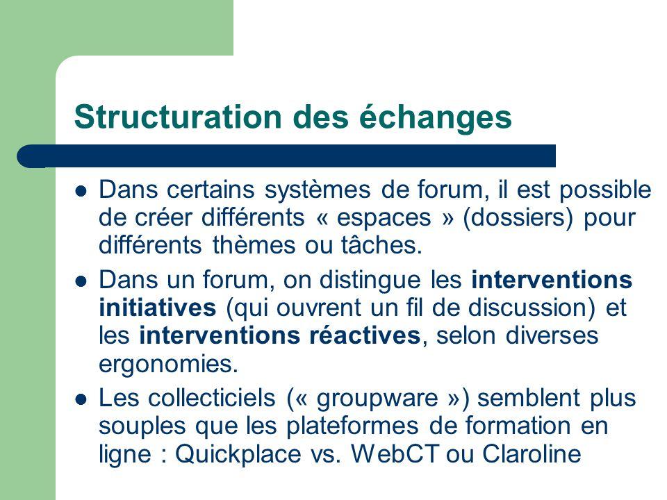 Structuration des échanges Dans certains systèmes de forum, il est possible de créer différents « espaces » (dossiers) pour différents thèmes ou tâches.