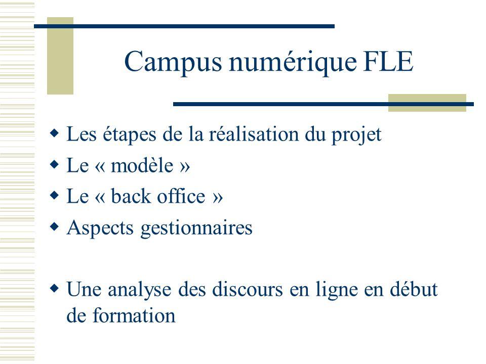 Campus numérique FLE Les étapes de la réalisation du projet Le « modèle » Le « back office » Aspects gestionnaires Une analyse des discours en ligne e