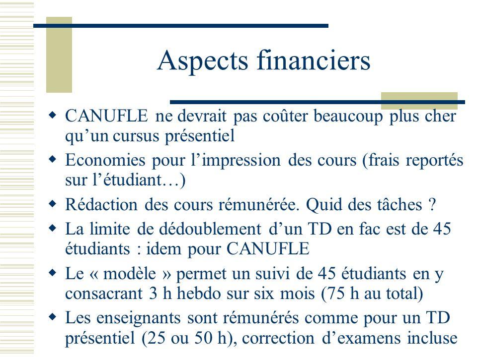 Aspects financiers CANUFLE ne devrait pas coûter beaucoup plus cher quun cursus présentiel Economies pour limpression des cours (frais reportés sur lé