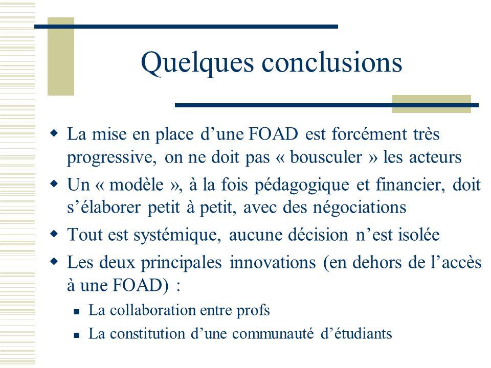 Quelques conclusions La mise en place dune FOAD est forcément très progressive, on ne doit pas « bousculer » les acteurs Un « modèle », à la fois péda