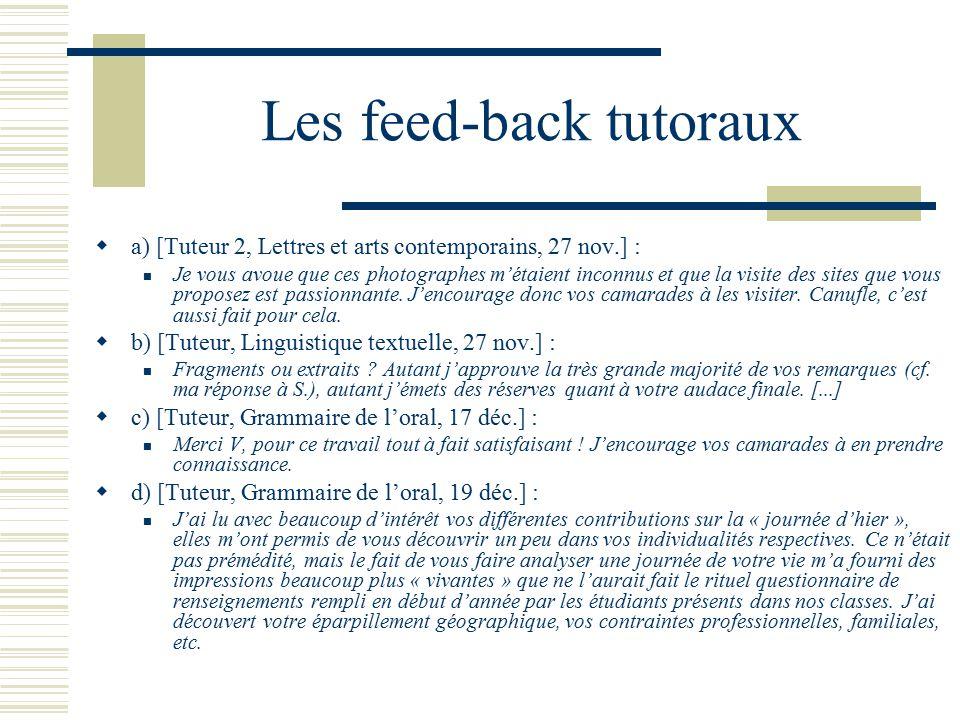 Les feed-back tutoraux a) [Tuteur 2, Lettres et arts contemporains, 27 nov.] : Je vous avoue que ces photographes métaient inconnus et que la visite d