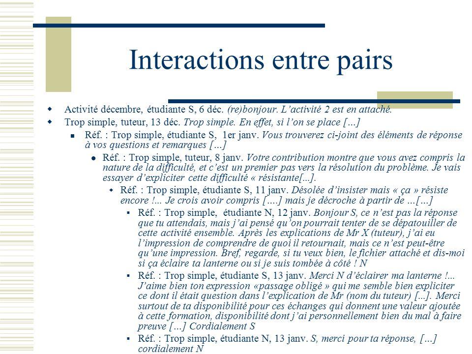Interactions entre pairs Activité décembre, étudiante S, 6 déc. (re)bonjour. Lactivité 2 est en attaché. Trop simple, tuteur, 13 déc. Trop simple. En