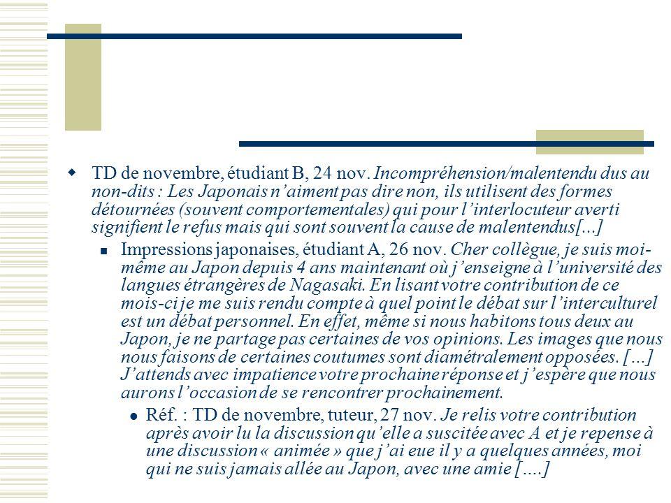 TD de novembre, étudiant B, 24 nov. Incompréhension/malentendu dus au non-dits : Les Japonais naiment pas dire non, ils utilisent des formes détournée